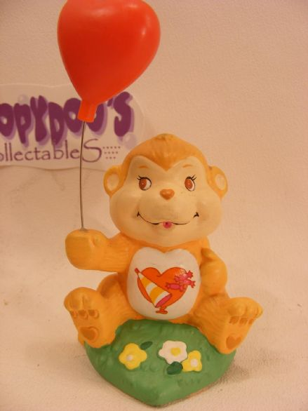 "VINTAGE 4"" CERAMIC PLAYFUL HEART MONKEY CAREBEARS COUS"